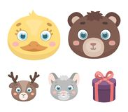 Bear, duck, mouse, deer. Animal`s muzzle set collection icons in cartoon style vector symbol stock illustration web. Bear, duck, mouse, deer. Animal`s muzzle Royalty Free Stock Photos
