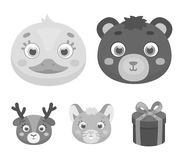 Bear, duck, mouse, deer. Animal`s muzzle set collection icons in monochrome style vector symbol stock illustration web. Bear, duck, mouse, deer. Animal`s muzzle Stock Photo