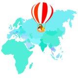 Bear duck travel by balloon cartoon character  Royalty Free Stock Photo
