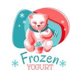 Bear Eating Frozen Yogurt Royalty Free Stock Image