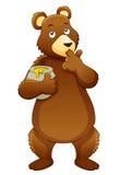 Bear eating honey. Illustration of Bear eating honey Royalty Free Stock Photo