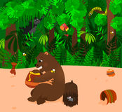 Bear eating Honey. Illustration of a bear eating a pot of honey. Empty honey pots laying around. Background is a jungle theme with a gorilla, bird, and snake vector illustration