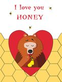 Bear eating sweet honey inside of red heart on bee comb backgro. Vector illustration with cute cartoon bear eating sweet honey inside of red heart frame on bee Stock Photography