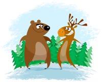 Bear and elk Stock Photos