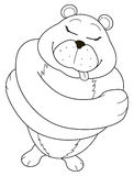 Bear that embraces. Illustration amusing black and white representing a bear that embraces alone Royalty Free Stock Photo