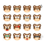 Bear emoticon, Bear emotion, Bear sticker, Bear expression. Bear facial expression on white background. Vector Illustration Stock Image