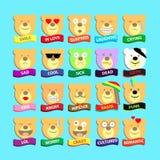 Bear emotions, bear smilies, bear icons Royalty Free Stock Image