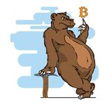The bear is engaged in mining of bitcoins. Vector illustration Stock Image