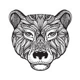 Bear. Ethnic patterns. Hand drawn vector illustration with celtic elements. Head grizzly, animal symbol Royalty Free Stock Photos