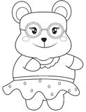 Bear with eyeglasses coloring page Royalty Free Stock Image