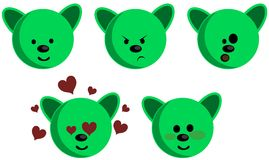 nice Bear face with different expressions isolated Stock Image