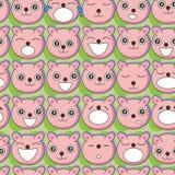 Bear Faces Seamless Pattern_eps royalty free illustration