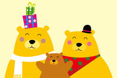 Bear family. Illustration of bear family and gift Royalty Free Illustration