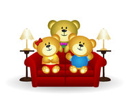 Bear Family On Couch Royalty Free Stock Images