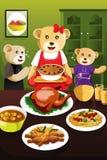 Bear family having dinner Stock Photos
