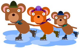 Bear Family Ice Skate Royalty Free Stock Images