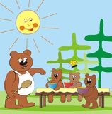 Bear family - lunch Royalty Free Stock Photos