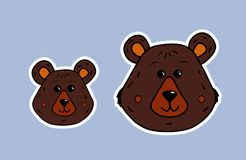 Bear family. Mama bear and little bear. Vector cute face in white contour. Cartoon illustration of the muzzle of the animal. Funny vector illustration
