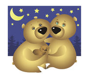 A bear family: Mother, Father, and their sleeping baby bear Stock Photography