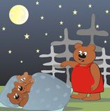 Bear family - night Royalty Free Stock Photography