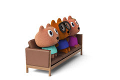 Bear family sitting on the sofa,3D rendering. Bear family sitting on the sofa 3D rendering Stock Images