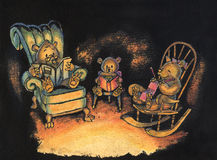 Bear Family sitting together Illustration. Ink and watercolor illustration of a family of three bears sitting together on chairs in their den, lit by firelight stock illustration