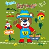 Bear the farmer funny animal cartoon,vector illustration. For t shirt and wallpaper or book royalty free illustration