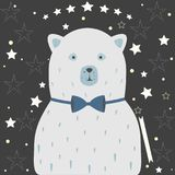 Bear on festive background with dotted stars. Vector Illustration Royalty Free Stock Photography