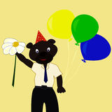Bear with festive colored balls. Bear with festive colored balloons and flower Royalty Free Stock Images
