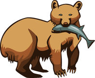 Bear with a Fish. Illustration of a brown bear or grizzly holding a salmon fish in its mouth Stock Photo