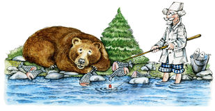 Bear-fisher. Illustration of brown bear eating fish on a bank of the river and doctor fishing Stock Photos