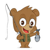 Bear fisherman. Clipart picture of a bear fisherman cartoon character Royalty Free Stock Photography