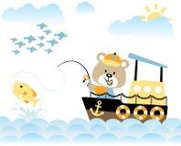 Bear fishing. Bear on fishing boat get a big fish, vector cartoon. EPS 10 Royalty Free Stock Photography