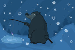 Bear fishing. Cartoon Stock Image