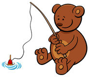 Bear on fishing cartoon illustration Stock Images
