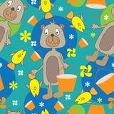 Bear Fishing Seamless Pattern_eps. Illustration of bear fishing seamless pattern on green background Stock Image