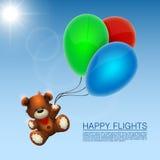 Bear flies on the balloons Stock Image