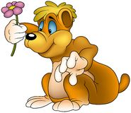 Bear with Flower. Colored cartoon illustration as vector Stock Image