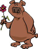 Bear with flower cartoon illustration Stock Photo