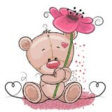 Bear with flower. Greeting card Cute Cartoon Bear with flower royalty free illustration