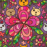 Bear Flower Petal Line Drawing Seamless Pattern Stock Photography