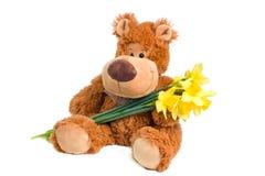 Bear with flowers Stock Photos