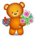 Bear with flowers Royalty Free Stock Images