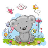Bear with flowers Stock Photo