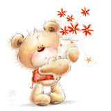 Cute Teddy bear with the red flowers. Background w. Cute bear with the red flowers Stock Images