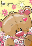 Bear with flowers. Cute Teddy Bear with flowers on a yellow background vector illustration