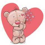 Bear with flowers vector illustration