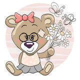 Bear with flowers Stock Images