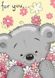 Bear with flowers. Greeting card Cute Cartoon Teddy bear with flowers stock illustration