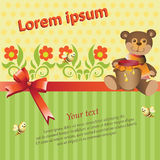 Bear, flowers, and honey. Background with stripes and a hexagon with a satin ribbon and bow. Decorative composition for the design of children`s products Royalty Free Stock Photo
